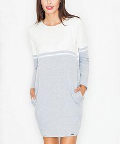 Look at this #zulilyfind! Gray & Ecru Colorblock Sheath Dress #zulilyfinds