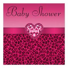 Hot Pink Leopard Print Bling Heart Baby Shower Invitation