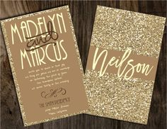 Champagne Glitter Wedding Invitations Gold by Joyinvitations
