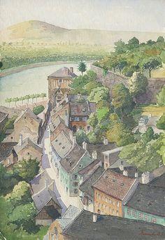 Bratislava, Paris Skyline, Retro, Architecture, Watercolors, Painting, Travel, Art, Paint