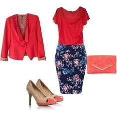 """""""Coral & Navy"""" by certainstyle on Polyvore"""