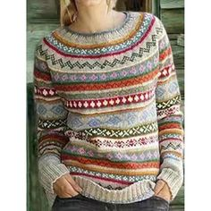 Red Sweaters, Pullover Sweaters, Sweaters For Women, Fair Isle Sweaters, Fair Isle Pullover, Style Japonais, Outerwear Women, Long Sleeve Sweater, Types Of Sleeves