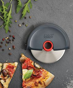 Gray & Red Easy-Clean Pizza Wheel