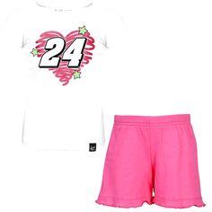 Chase Authentics Jeff Gordon Toddler Girls Fun Power T-Shirt and Shorts Set - White/Pink - $14.39
