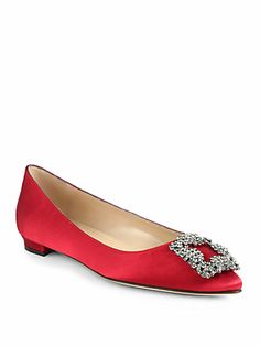 Manolo Blahnik - Hangisi Jewel Satin Flats - Saks.com-blk, wht,red, silver, royal, raspberry