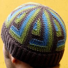 """Urbanista Hat by Woolly Wormhead - free on Ravelry - """"This Hat explores a new way of knitting right angles. Worked on straight needles -- knitted sideways, and then grafted at the end -- the color sections are worked as stripes with some intarsia."""""""