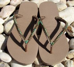 Bronze Turquoise Beaded Flip Flops Decorated by TribesBySaraK