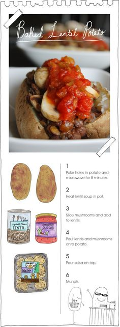 The Vegan Stoner's Baked Lentil Potato -- Tried this with sweet potato and it was very good! Very easy with canned lentil soup and steamables sweet potatoes....
