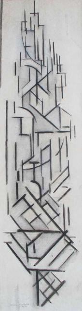 Leusden W. van | Compositie (De Utrechtse Domtoren), houtskool en krijt op papier 97,0 x 27,5 cm, gesigneerd l.o. en gedateerd 1921
