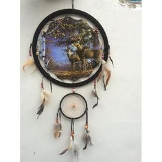 """13"""" Deer Dream Catcher features two deer, a Buck and Doe, standing in the woods. Dreamcatcher changes a person's dreams, good dreams would pass through and slid"""
