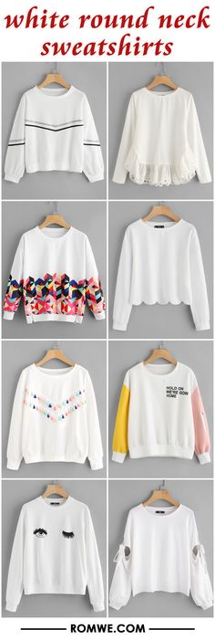 white round neck sweatshirts