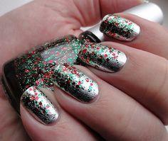 Dark Christmas-y nails