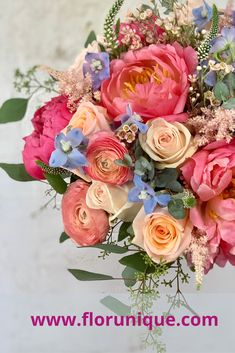 Lush romantic bridal bouquet with Peonies, Roses, Ranunculi and Delphinium. Room Color Combination, Wedding Stuff, Wedding Flowers, Delphinium, Room Colors, Color Combinations, Summer Wedding, Peonies, Lush