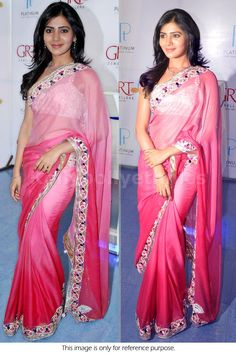 Bollywood Actress Samantha Silk Satin Saree in Pink color