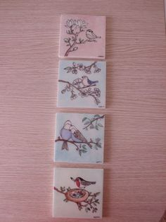 My little birds cm ceramic tiles handmade by Meral Turkish Art, Handmade Tiles, Small Paintings, Pottery Studio, Pottery Painting, Little Birds, Hand Painted Ceramics, Tile Art, Stone Painting