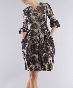 Love this Bigio Collection Taupe & Black Floral A-Line Dress - Women by Bigio Collection on #zulily! #zulilyfinds