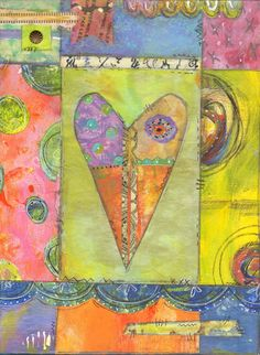 What to do with gelli prints: make mixed media collage.  I Love Your Imperfections print of original by MaureenMarksArt, $16.00