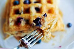 Blueberry Waffles - Nothing like hot homemade waffles bursting with blueberries! Yum! // from addapinch.com