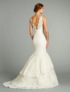 Bridal Gowns: Jim Hjelm Mermaid Wedding Dress with V-Neck Neckline and Dropped Waist Waistline