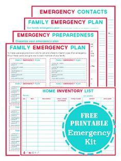 Printable emergency binder pages