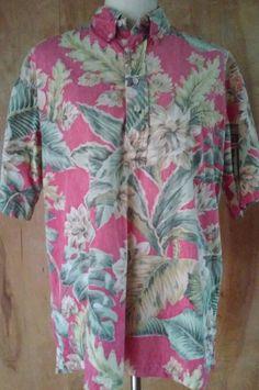Vintage 80s  Reyn Spooner Reverse Print Floral Cotton Men's Shirt Size LARGE  L #ReynSpooner #Hawaiian
