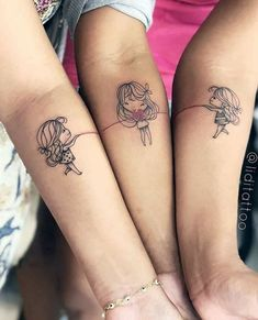 22 Unique Matching Meaningful Sister Tattoos To Try - super cute sister tattoos;unique sister tattoos for 3 matching;sister tattoos for 2 meaningful - Cute Sister Tattoos, Sibling Tattoos, Family Tattoos, Tattoo Sister, 3 Best Friend Tattoos, Three Sister Tattoos, Disney Sister Tattoos, Paar Tattoos, Neue Tattoos