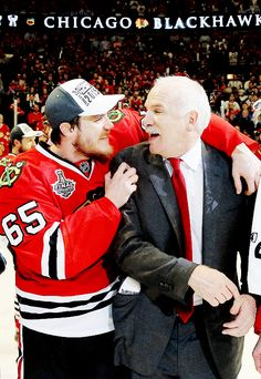 Andrew Shaw and Joel Quenville Chicago Blackhawks