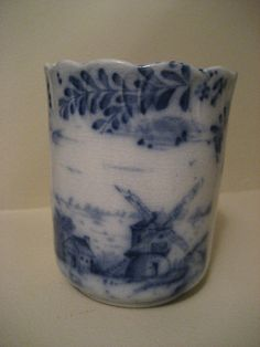 Vintage Flow Blue Warwick China Glass Cup by GoodysFromThePast, $65.00
