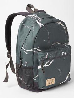 Senior printed backpack in gun powder #marble .