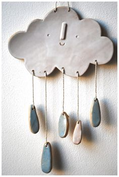 Image of Cloud wall mobile/hanging #CeramicaInspiration click the image for more details.