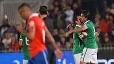 Bolivia´s Marcelo Martins (R) celebrates with teammate Gualberto Mojica after scoring against Chile during their FIFA World Cup Brazil 2014 South American qualifying football match at Nacional stadium in Santiago on June 11, 2013. AFP PHOTO/MARTIN BERNETTI #brazil2014 #sport #worldcup #betting #tips #updates #SMS #cup  JOIN THE WORLD CUP WITH http://prowintips.com