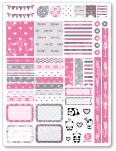 Panda Love Decorating Kit / Weekly Spread Planner Stickers