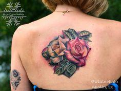 Colorful floral tattoo on the mid back Rose Tattoo On Back, Back Tattoo, Colorful, Photo And Video, Tattoos, Floral, Instagram, Tatuajes, Tattoo