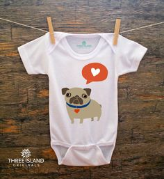 SALE//Reg. 19.95//Cute and Funny Onesie for Baby Boy or Girl - Pug with a Heart, romper, bodysuit, cute baby gift under 25 on Etsy, $14.95