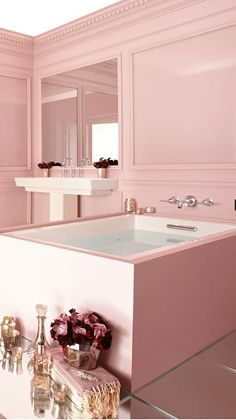 Pink bathroom.
