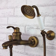 robinet de douche mural en laiton antique de poche monter