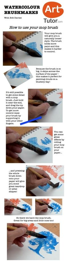How to use your mop brush in watercolour. For more watercolour tips and techniques, and to see the video of this lesson, go to www.arttutor.com/blog #watercolour