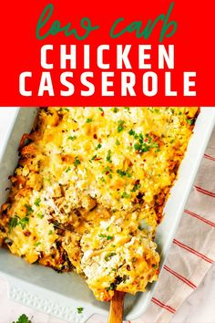 When you are tired of the same old, same old, this Keto Chicken Casserole is guaranteed to liven dinnertime up. Sautéed onion, poblano peppers, and chipotle chili peppers are tossed with oregano and chicken and then covered in a light sauce. Top it off with goat cheese and mozzarella, and you have got a party in your mouth!