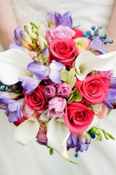 Bridal bouquet, wedding, pink roses, white lilies, purple, flowers, copyright www.tamimcinnis.com