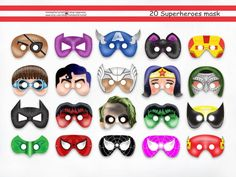 20 Superhero Printable Masks,super hero,party package,avengers mask | HolidayPartyShop - Clothing on ArtFire