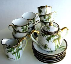 Japanese Tea Set White Porcelain Hand Painted by retrogroovie, $46.00