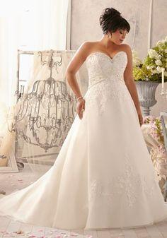 Venice Lace Organza, Crystal Beaded Plus Size Wedding Dress