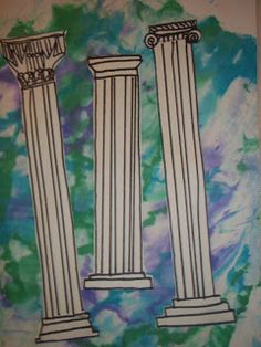 Happily Ever After.An Art Teacher's Fairy Teal: Greek Columns maybe bubble paint and glue column on top Ancient Greek Art, Ancient Romans, Ancient Greece, Ancient History, Ancient Greek Architecture, Art And Architecture, 3rd Grade Art Lesson, Roman Columns, Corinthian Columns
