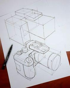 Today I drew camera sketch 😊 10 min. Cool Art Drawings, Cool Sketches, Pencil Art Drawings, Art Drawings Sketches, Camera Sketches, Camera Drawing, Perspective Drawing Lessons, Perspective Sketch, Basic Sketching