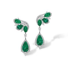 Agta Gems. Rosalyn  Emerald and Diamond Earrings with 8 Colombian pear-shaped emeralds and white diamonds (=)