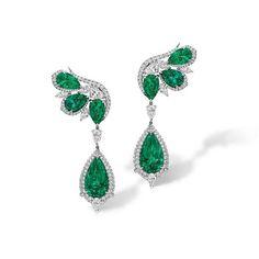 Agta Gems. Earrings featuring Emeralds & Diamonds.