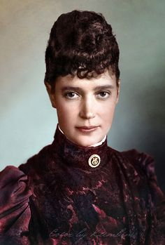 A colored photo of Empress Marie Feodorovna of Russia, the wife of Alexander III and mother of Nikolay II. A Danish princess she became one of the most respectable Empresses of Russia and remarkable women of the 19-20th centuries.