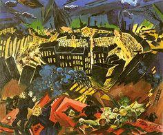 The Burning City 1913 Ludwig Meidner Kandinsky, Georg Heym, Ludwig Meidner, Karl Schmidt Rottluff, George Grosz, Burning City, Degenerate Art, Art Through The Ages, Jewish Art