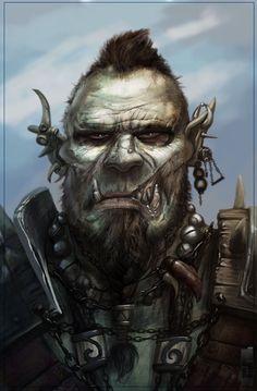 Ruffian Orc Mercenary Orc warband captain Gruff Merchant in a big multiracial city