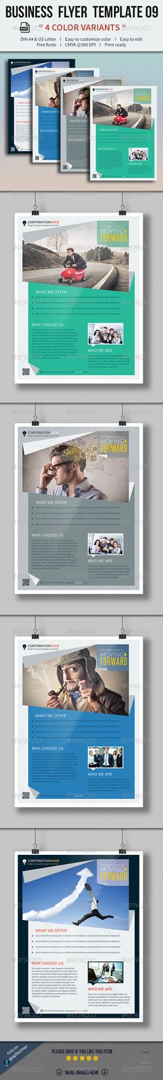Business Flyer Template, hierarchy of type, interesting imagery, easily converts to unified template w multiple colors